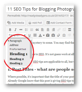 Make use of Heading Tags when blogging to gain SEO Benefits