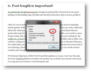Another means to count the number of words in your post would be to paste the post itself into a word processing tool that has a word count function